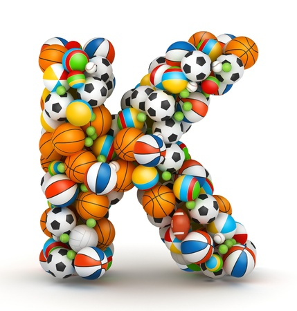 athletic type: Letter K, stacked from gaming balls alphabet Stock Photo