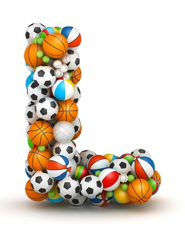 letter l: Letter L, stacked from gaming balls alphabet