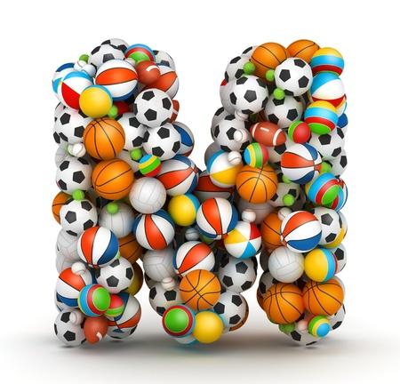 letra m: Letra M, se apilan los juegos de azar alfabeto bolas Foto de archivo