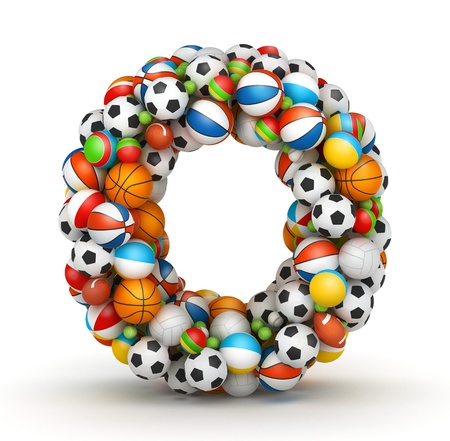 Letter O, stacked from gaming balls alphabet Imagens - 14491847