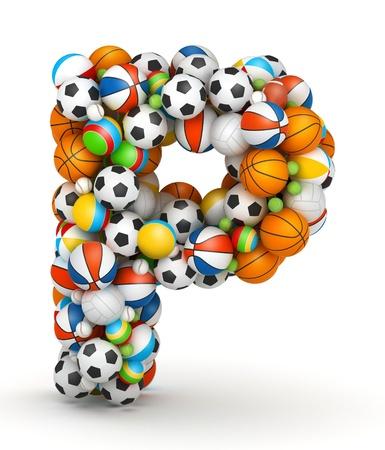 balon de voley: Letra P, se apilan los juegos de azar alfabeto bolas