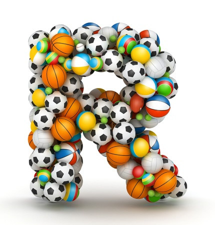 athletic type: Letter R, stacked from gaming balls alphabet
