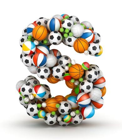 letra s: Letra S, se apilan los juegos de azar alfabeto bolas