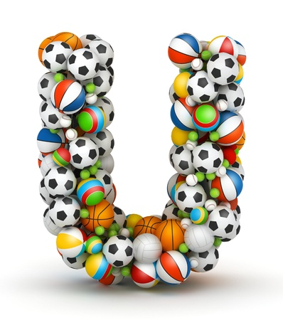 volley: Letter U, stacked from gaming balls alphabet