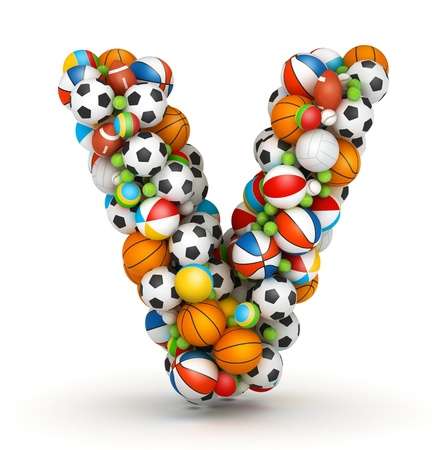 volley: Letter V, stacked from gaming balls alphabet