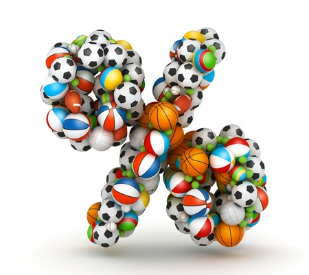 sporting goods: Percent sign , stacked from gaming balls alphabet Stock Photo