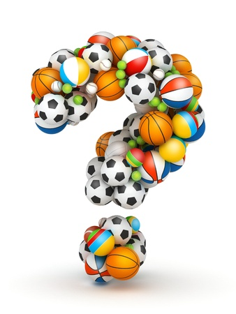 sporting goods: Question mark, stacked from gaming balls alphabet Stock Photo