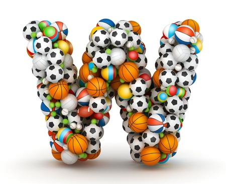 athletic type: Letter W, stacked from gaming balls alphabet