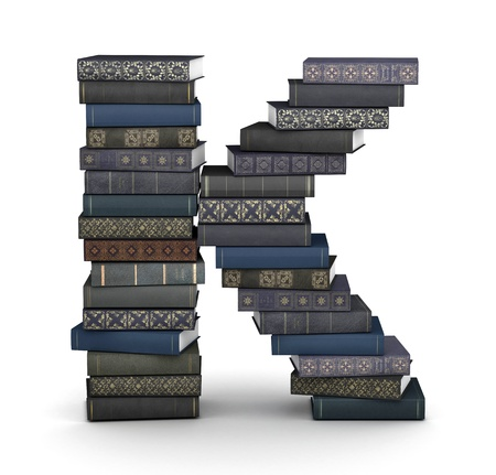 stacked books: Letter K, stacked from many  books in pile