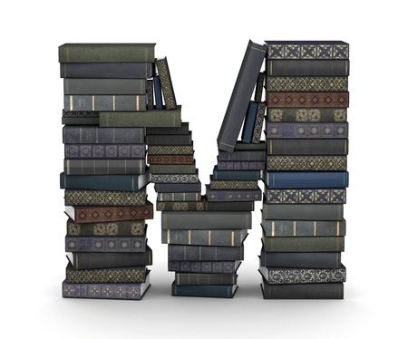 Letter M, stacked from many  books in pile photo