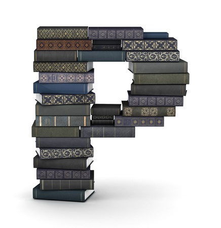 letter p: Letter P, stacked from many  books in pile