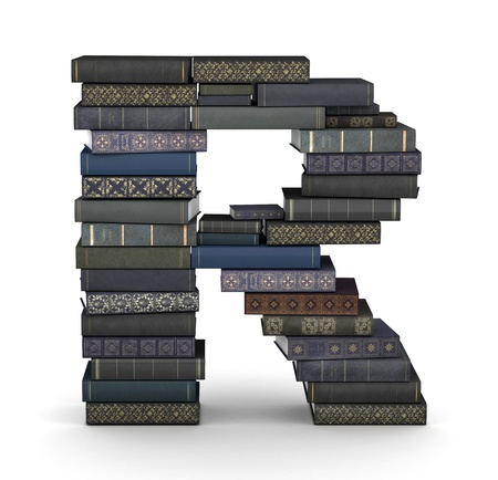 letter r: Letter R, stacked from many  books in pile