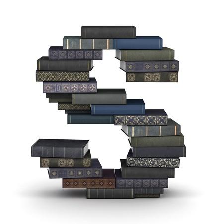 letra s: Letra S, apilados de muchos libros en mont�n