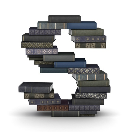 stacked books: Letter S, stacked from many  books in pile Stock Photo