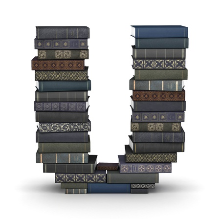 literary: Letter U, stacked from many  books in pile Stock Photo