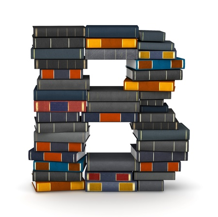 Letter B, stacked from many encyclopedy books in pile