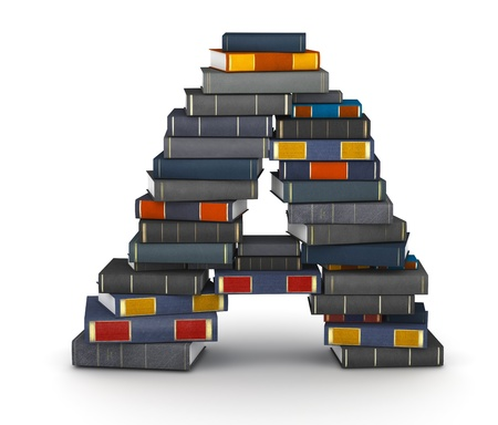 Letter A, stacked from many encyclopedy books in pile Stock Photo - 16433925