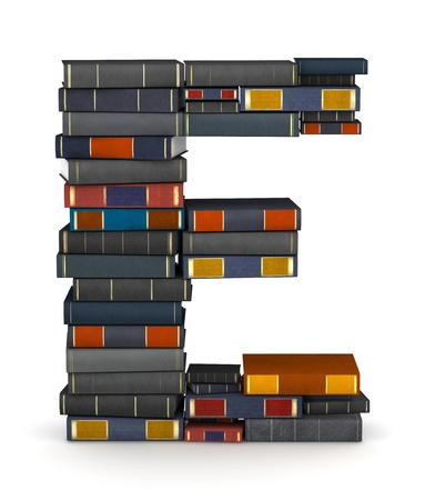 Letter E, stacked from many encyclopedy books in pile