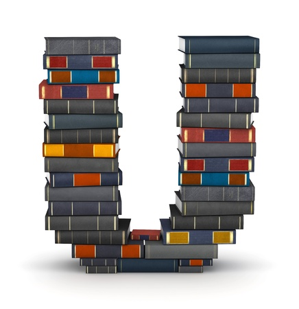 letter u: Letter U, stacked from many encyclopedy books in pile