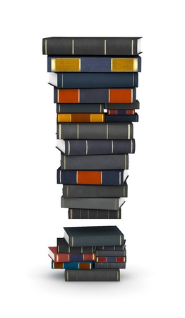 exclamation mark: Exclamation mark, stacked from many encyclopedy books in pile