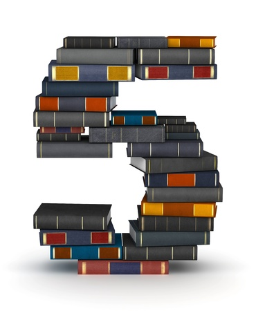 stacked books: Number 5, stacked from many encyclopedy books in pile