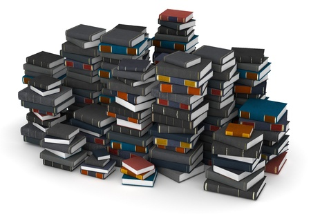 Many books, stacked in columns photo