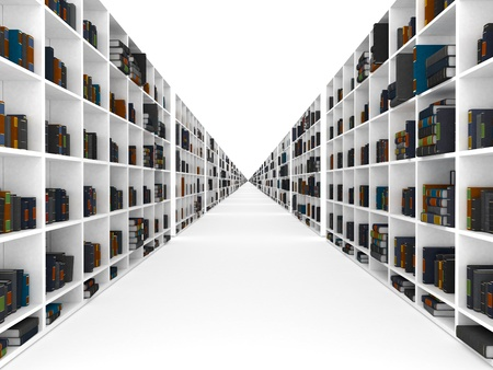 Bookshelves with book infinity perspective photo
