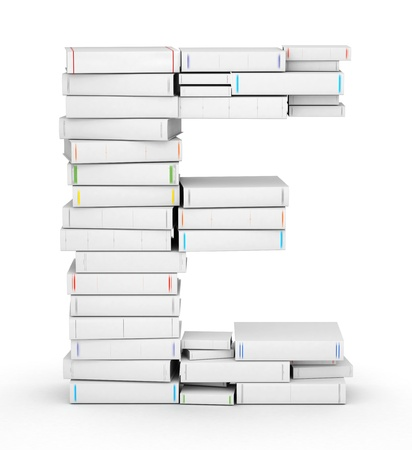 e books: Letter E, stacked from many blank title books in column