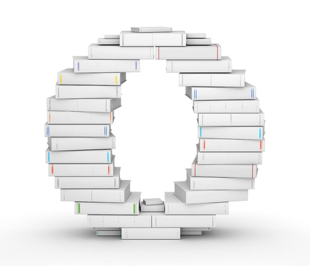 Letter O, stacked from many blank title books in column Imagens