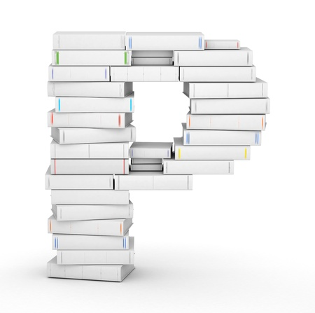 letter p: Letter P, stacked from many blank title books in column Stock Photo