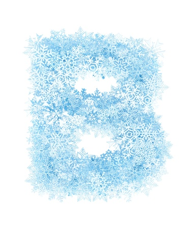 Letter B, frosty blue snowflakes alphabet on white background photo