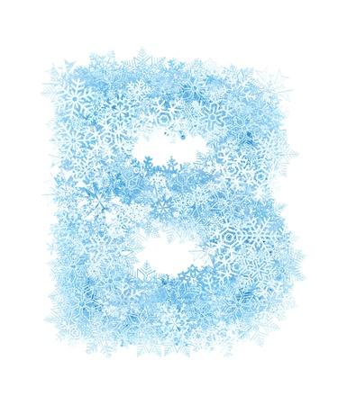 Letter B, frosty blue snowflakes alphabet on white background Stock Photo - 16672112