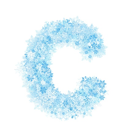 Letter C, frosty blue snowflakes alphabet on white background photo