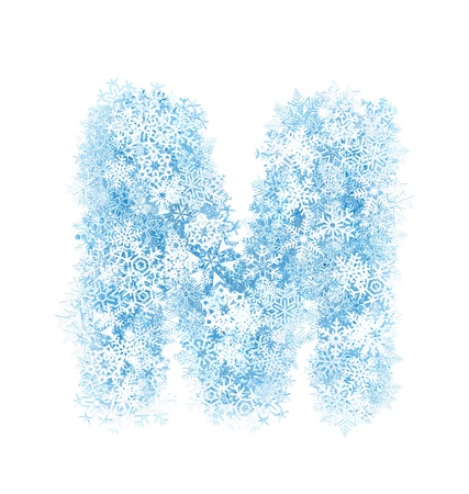Letter M, frosty blue snowflakes alphabet on white background Stock Photo - 16672114