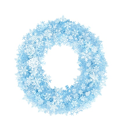 Letter O, frosty blue snowflakes alphabet on white background photo