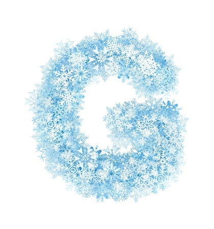Letter G, frosty blue snowflakes alphabet on white background photo