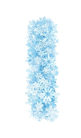 Letter I, frosty blue snowflakes alphabet on white background photo