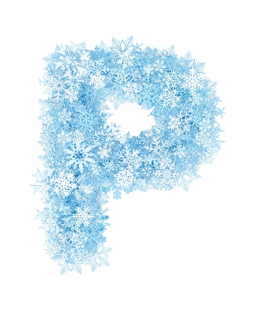 Letter P, frosty blue snowflakes alphabet on white background photo