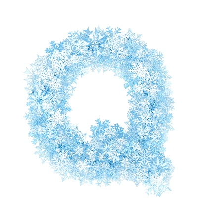 Letter Q, frosty blue snowflakes alphabet on white background photo