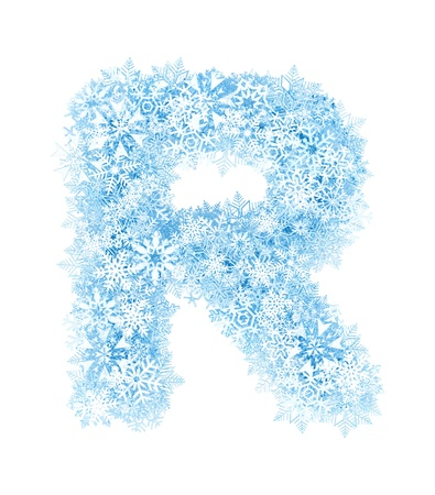 Letter R, frosty blue snowflakes alphabet on white background photo