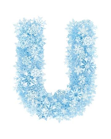 Letter U, frosty blue snowflakes alphabet on white background photo