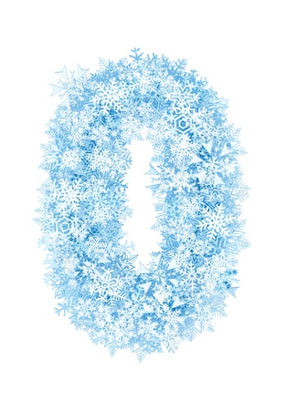 Number 0, frosty blue snowflakes alphabet on white background photo