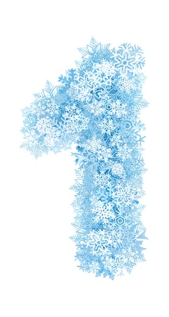 Number 1, frosty blue snowflakes alphabet on white background Imagens