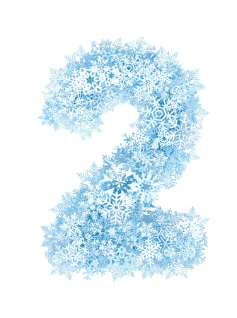 Number 2, frosty blue snowflakes alphabet on white background