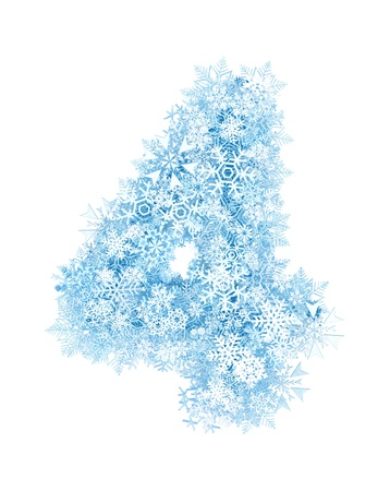 Number 4, frosty blue snowflakes alphabet on white background photo