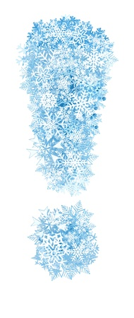 Exclamation mark , frosty blue snowflakes alphabet on white background photo