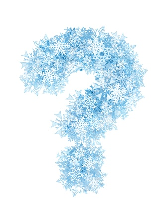 Question mark, frosty blue snowflakes alphabet on white background photo