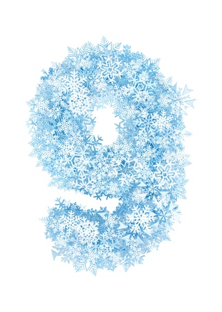 Number 9, frosty blue snowflakes alphabet on white background photo