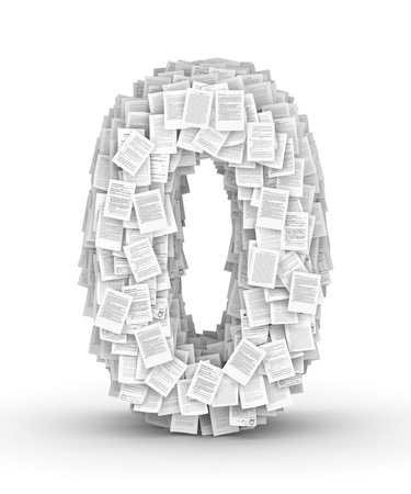 Number 0, from thousands of documents font Stock Photo - 16861748