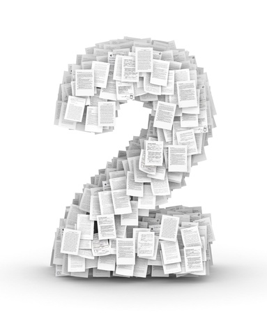 bureaucratism: Number 2, from thousands of documents font Stock Photo